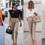 γυναικεία ντυσίματα με μπεζ παντελόνι