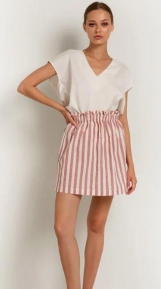 ριγέ κοντή φούστα με σούρα toimoi