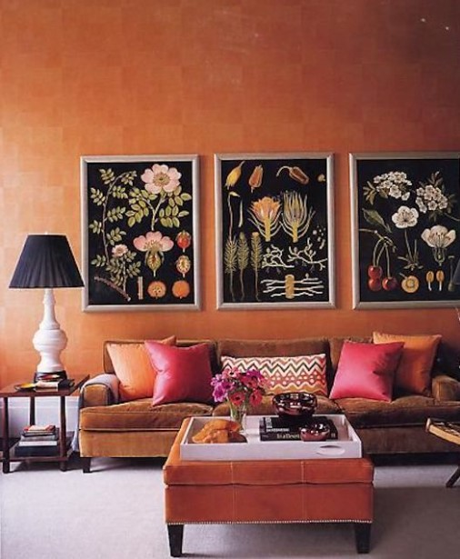 σαλόνι πορτοκαλί αποχρώσεις