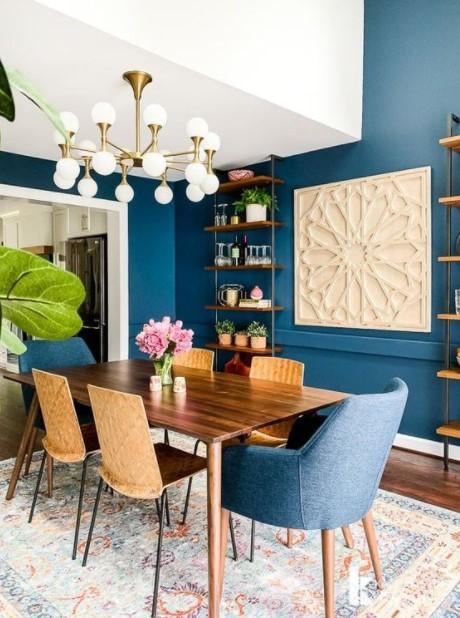 τραπεζαρία μπλε τοίχοι