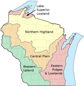 map of Wisconsin showing geological regions