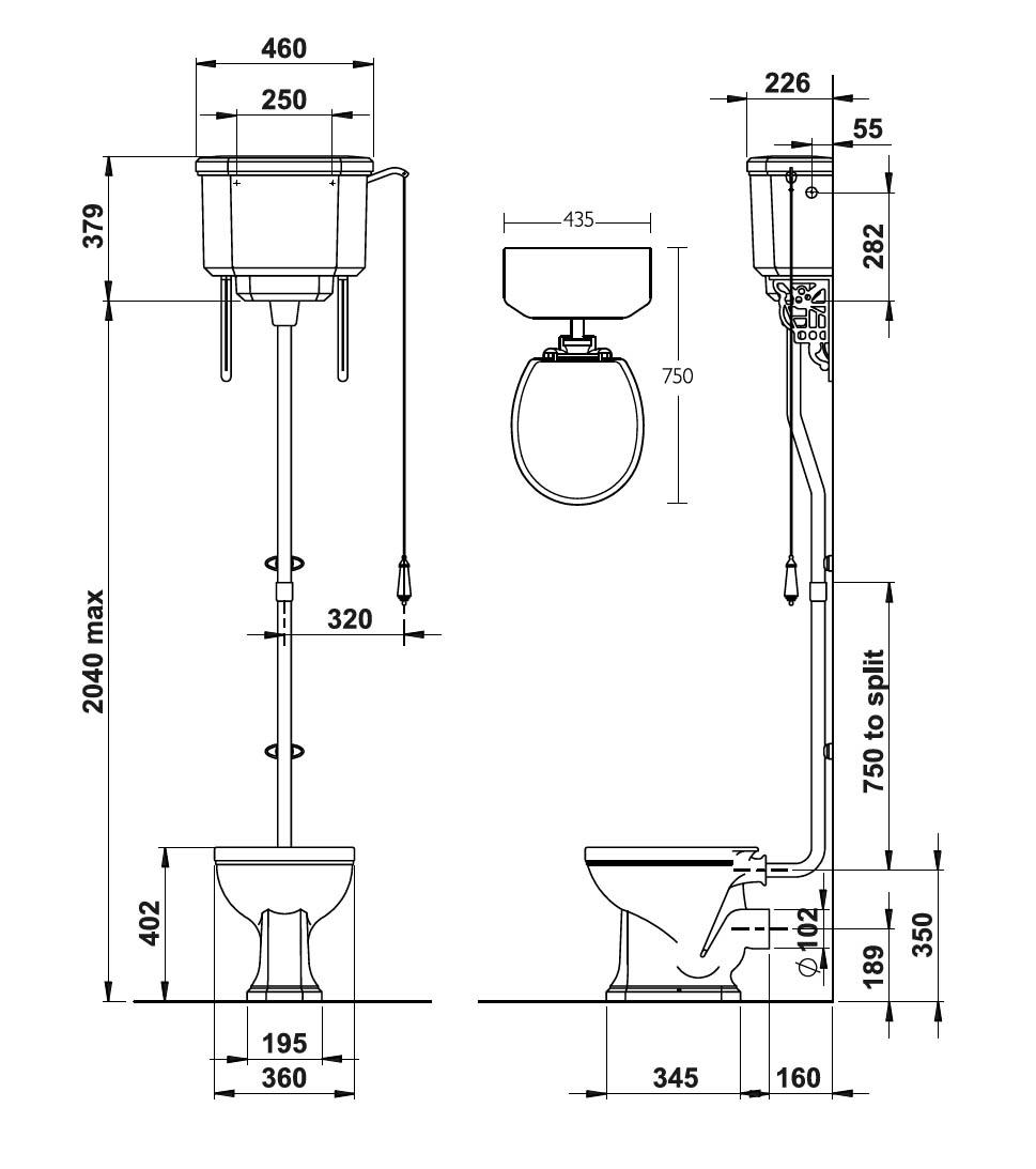 Stand-Wc Mit Hoher Zisterne In Sanitärkeramik Von Silverdale Linie