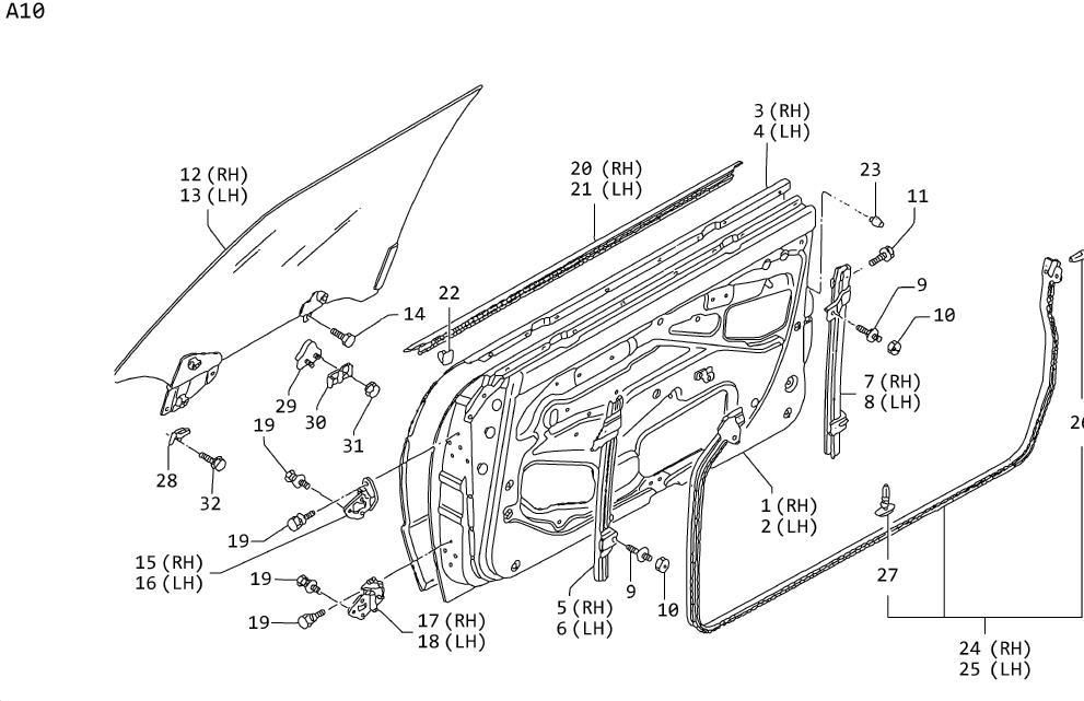 Nissan 300ZX Clip Weatherstrip. DOOR, FITTING, PANEL