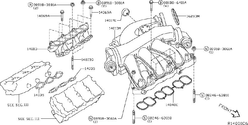Nissan Maxima Air Crossover Gasket. Gasket Intake Adapter