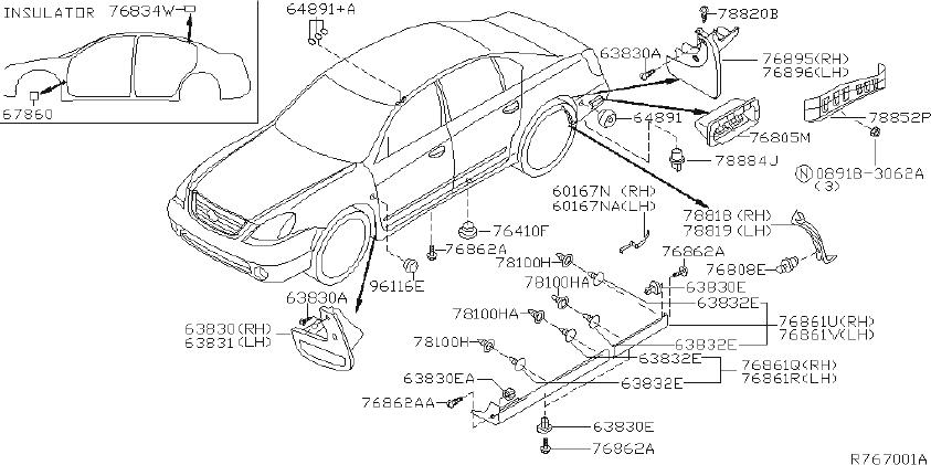 Nissan Altima Mudguard center. (right, front). Body