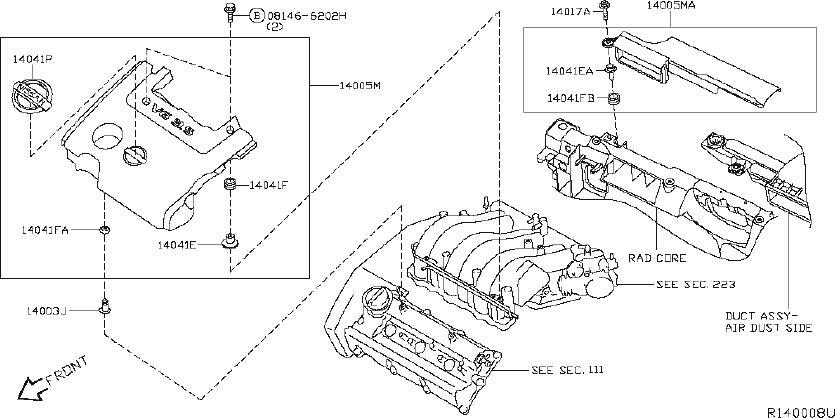 Nissan Altima Air Crossover Gasket. Gasket Intake Adapter