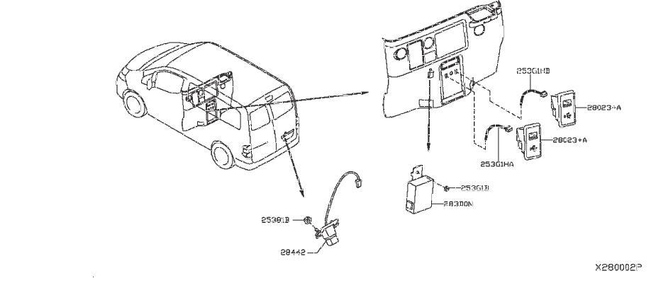 Nissan NV200 TAXI Audio Auxiliary Jack. ANTENNA, UNIT