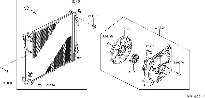 Nissan Versa Engine Cooling Fan Motor. FITTING, RADIATOR