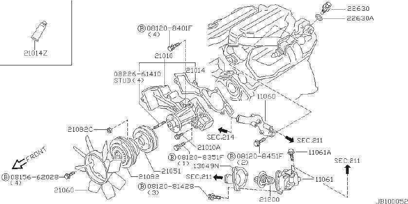 Datsun PICKUP Engine Coolant Thermostat Housing. COOLING