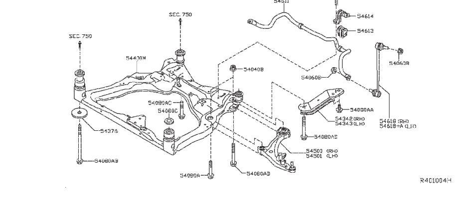 Nissan Pathfinder Suspension Subframe Crossmember (Front