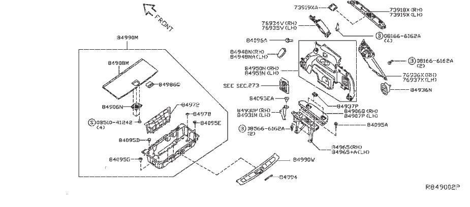 Nissan Pathfinder Interior Quarter Panel Trim Panel (Right
