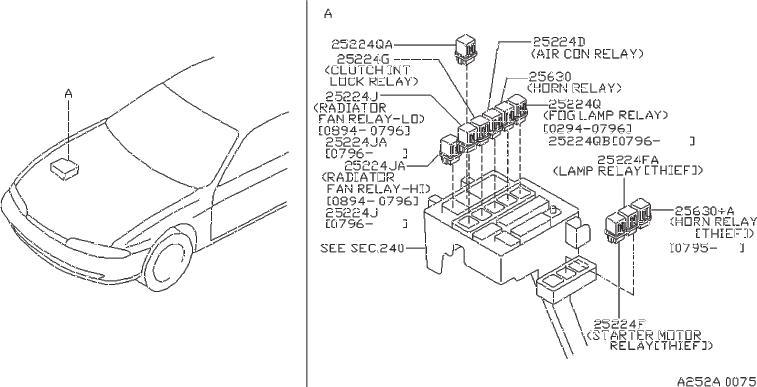 Nissan 240SX Relay Air Conditioner. Relay EGI. Relay Fog