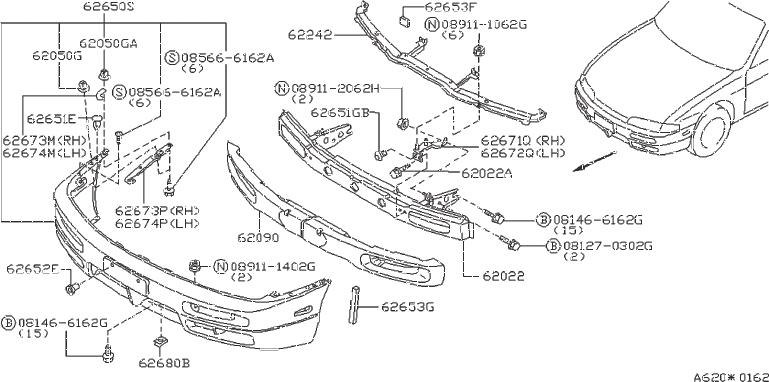 Nissan 240SX Bracket Bumper Side. (Right, Front). FED, CAL