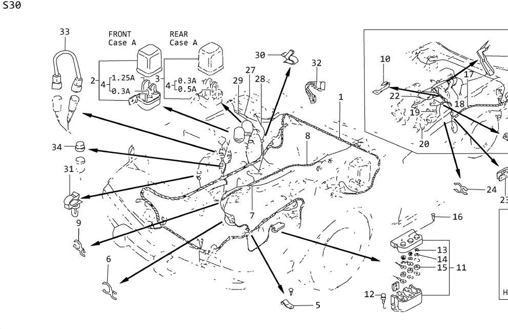 Nissan Maxima Sub harness egi. Terminal relay. Engine