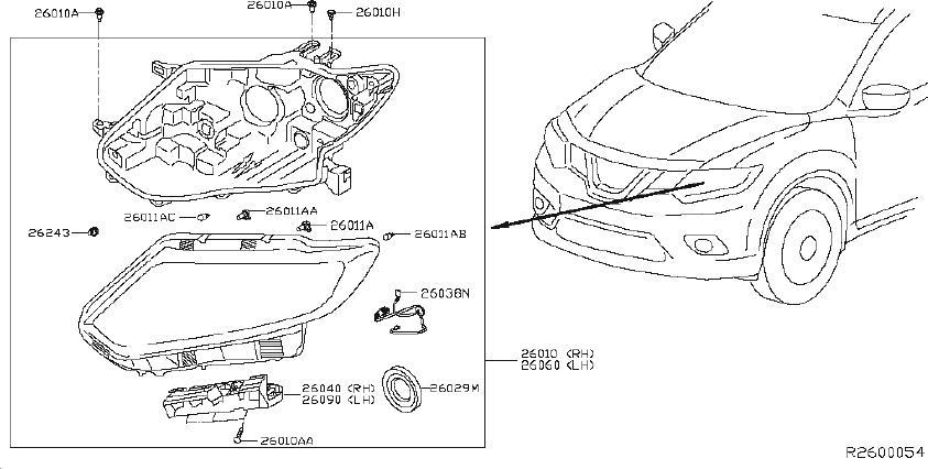 Nissan Rogue Headlight Wiring Harness. PREM, LED, HALOGEN