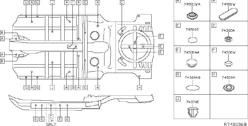 Nissan Rogue Floor Pan Heat Shield (Front). BODY, PLUGS