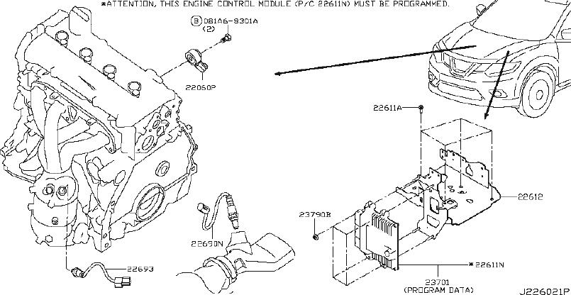 Nissan Rogue Oxygen Sensor. MODULE, ENGINE, CONTROL