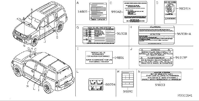 Nissan Armada Engine Sticker. Label Caution, Console