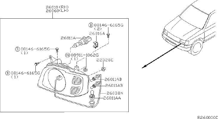 Nissan Xterra Headlight Wiring Harness. System, SAGE
