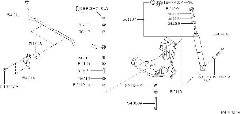 Nissan Xterra Absorber Kit Shock. (Rear). STAMPED, ARM