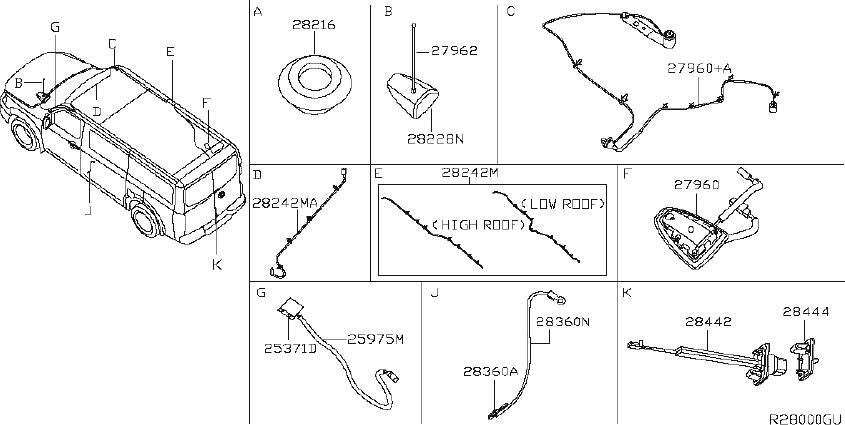 Nissan NV3500 Audio Auxiliary Jack. ANTENNA, NAVI, USB
