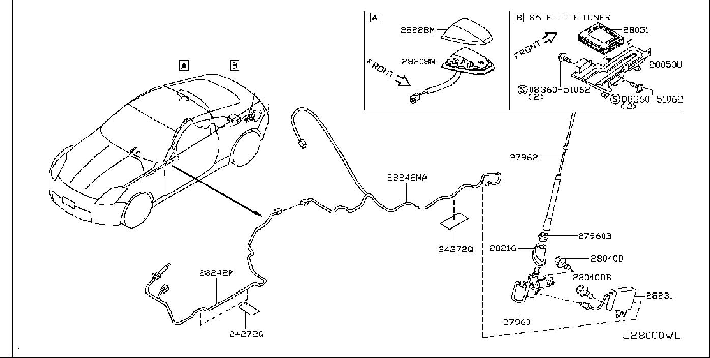 Nissan 350Z Radio Antenna Base Nut. AUDIO, VISUAL, COUPE