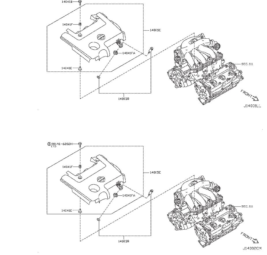 Nissan Murano Air Crossover Gasket. Gasket Intake Adapter