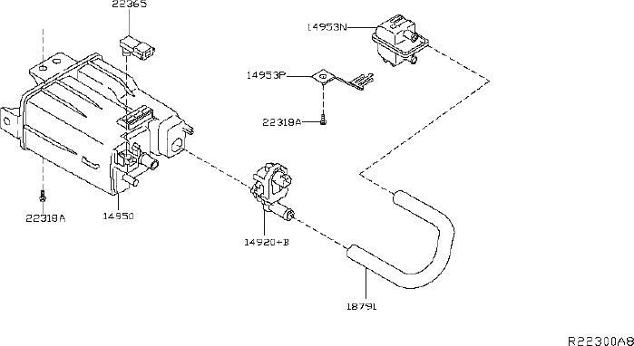 Nissan Murano Vapor Canister Filter. SYSTEM, EVAPORATIVE