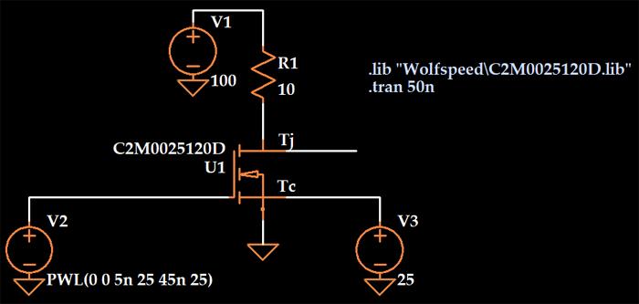 Simulazione del comportamento termico e di commutazione del MOSFET SiC in LTspice