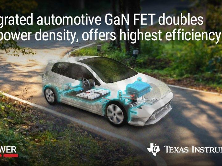 Primo FET GaN automotive che integra driver, protezione e gestione attiva dell'alimentazione