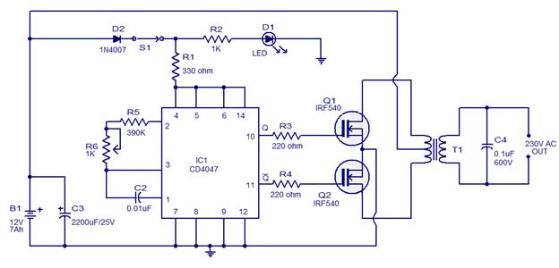 Semplice circuito inverter da 100 W