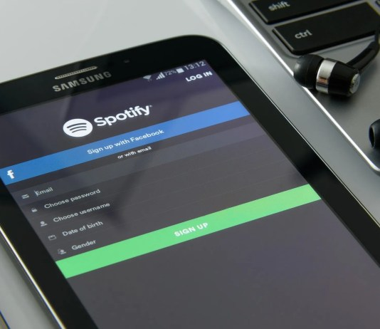 Spotify login iPhone on desk