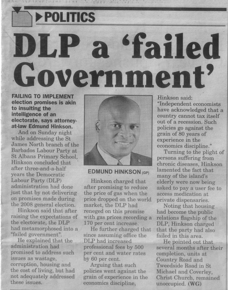 DLP A 'Failed Government' - 2011-05-25 Midweek Nation - Page17A