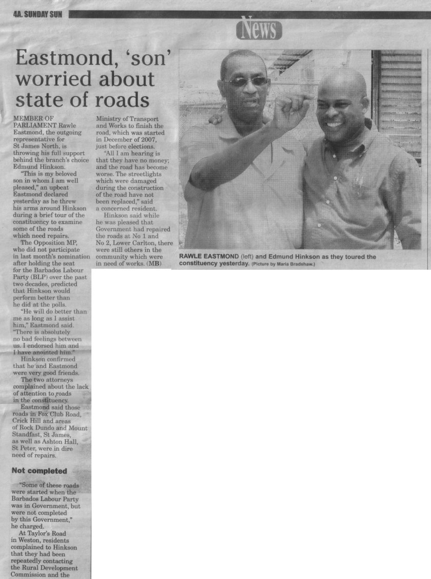 Eastmond, 'Son' Worried About State of Roads - 2012-03-04-Sunday-Sun-Page4A