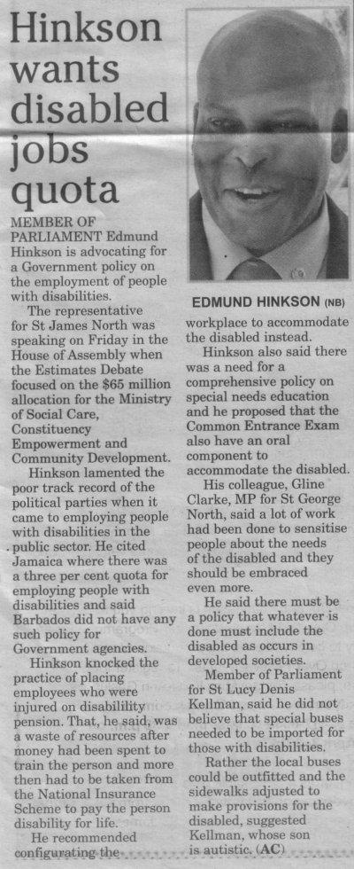Hinkson wants disabled jobs quota 2014-03-23-Sunday-Sun