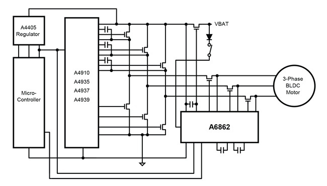 Three-phase MOSFET driver IC replaces relays in autos