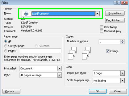 Free EZpdf Creator Driver Software
