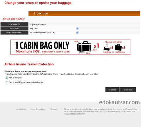 Pengalaman web checkin AirAsia