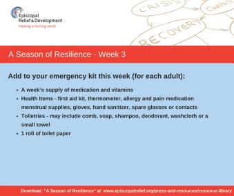 A Season of Resilience- Week 3 Emergency Kit