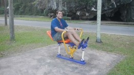 Exercising in the middle of a park
