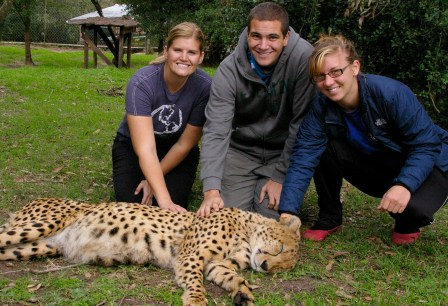 Erin, Me & Laura Petting a Cheetah!