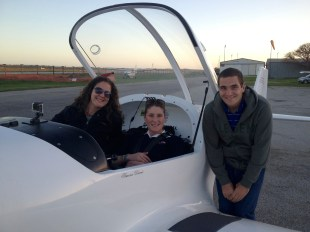 The airplane! With our lovely pilot, Simone.