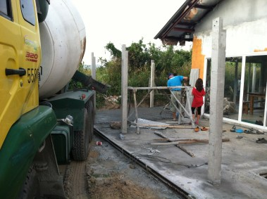 Pouring concrete at SHE Ministries