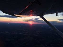 Sunset during a night flight.