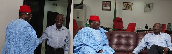 Oshiomhole hosts Umahi, says politics not war