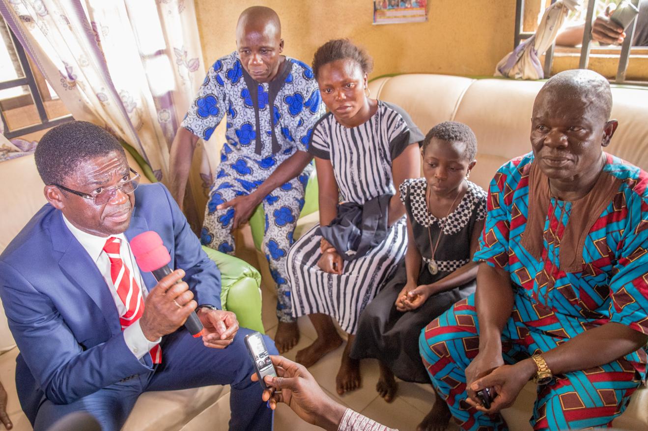 Obaseki Visits accident scene, family of victim