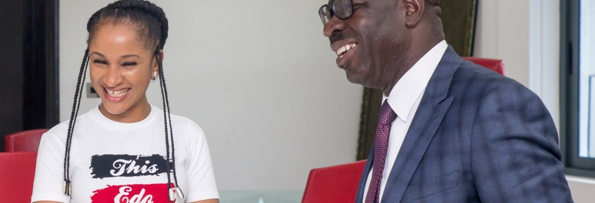 Award-winning Actress, Adesua Etomi and Governor Godwin Obaseki of Edo State, when she paid a courtesy visit to the Governor at the Edo State Government House in Benin City on Thursday, September 21, 2017.