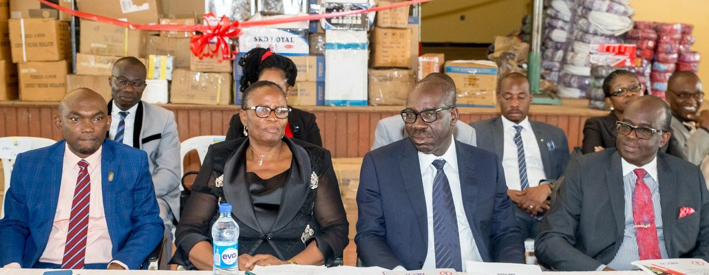 L-R: Chief of Staff to the Governor of Edo State, Mr. Taiwo Akerele; Edo State Head of Service, Mrs Gladys Idahor; Governor Godwin Obaseki of Edo State; and the Director General of Nigeria Employers Consultative Association (NECA), Olusegun Oshinowo  during the donation of training equipment to Government Science and Technical College (GSTC) in Benin City, by Industrial Training Fund (ITF) and Nigeria Employers Consultative Association (NECA) on Tuesday, September 26, 2017.