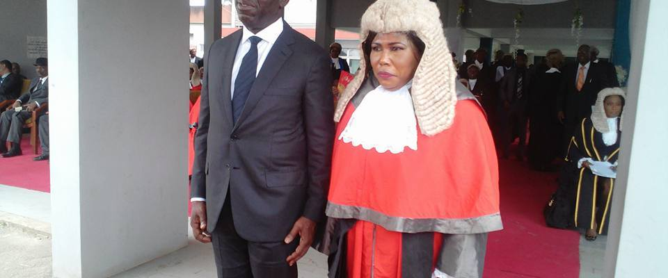 Governor Godwin Obaseki of Edo State (Left) and Chief Judge of the state, Hon. Justice Esohe Ikponmwen, during the ceremony to herald the commencement of the 2017-2018 New Legal Year, held at the High Court of Justice in Benin City, on Friday, September 29, 2017.