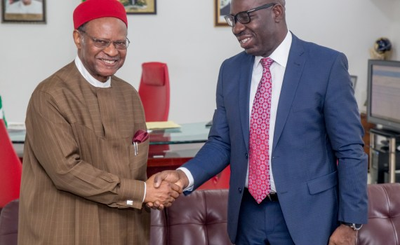 Governor Godwin Obaseki of Edo State (right), receiving Chief Emeka Anyaoku at the Government House in Benin City, during the courtesy visit to the governor, on Friday, October 13, 2017.